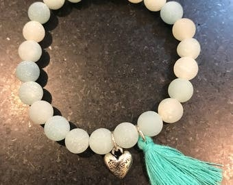 Amazonite natural raw stone beaded bracelet