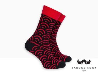 Men Dress Socks | Socks for Men | Groomsmen Socks | Groom Socks | Wedding Socks | Cotton Socks | Mermaid Socks | Socks | Black and Red Socks