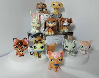 Littlest Pet Shop Custom Spiked & Jeweled Collars Mixed Set of 6 - lps Accessories