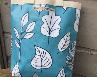 Oilcloth Lunch Tote Bag in turquoise leaf print