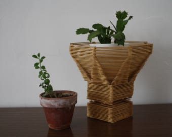 A Vintage Wooden Popsicle Stick Planter or Plant Stand