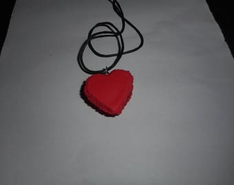 Heart shaped red macaroon necklace