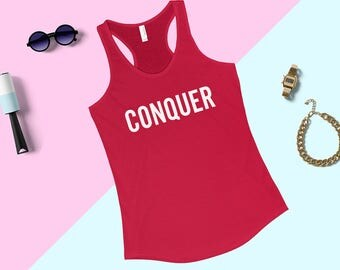 CONQUER - Deadlift - Bodybuilding,  Workout, Gym - Unisex Tank Top, Weightlifting, Powerlifting, Crossfit, WOD, Fitness
