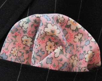 Hankie Pocket Square Handkerchief Pink White Floral - Premium Cotton UK Made