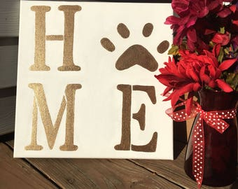 HOME pawprint canvas