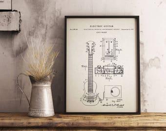Electic Guitar Pickup patent print art - Vintage printable patent poster artwork drawing - Instant Digital download - Wall art decor
