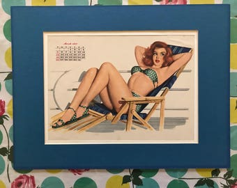 Original Calendar Pinup Girl - March 1950 - Bikini / Deckchair - Mounted and Ready to Frame