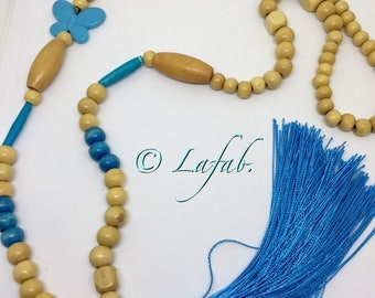 Necklace wooden beads and turquoise tassel with butterfly. FREE shipping