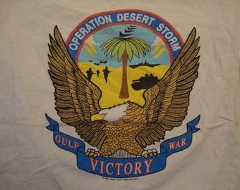Vintage 90's Operation Desert Storm Gulf War Victory Military White T Shirt Size L