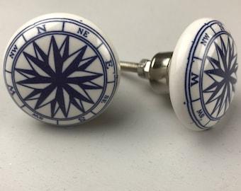 Set of 2 X COMPASS Blue & White Ceramic Knobs - NAUTICAL Bathroom
