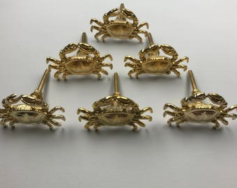 Set 6 x Metal GOLDEN CRAB KNOBS - Knob Home decor drawer pull