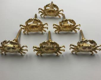 Set 6 x Metal GOLDEN CRAB KNOBS - Knob Home decor drawer pull