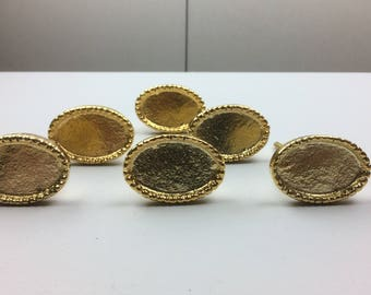 Set 6 x Metal GOLD OVAL KNOBS  with a raised beaded edge - Knob Home decor drawer pull
