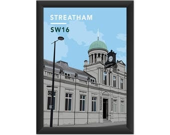 Streatham Library SW16 - Giclée Art Print - South London Poster