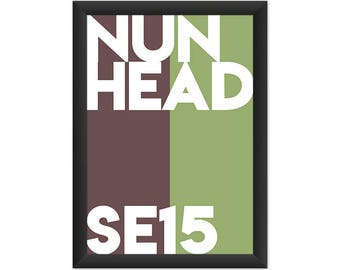 Nunhead Typography SE15 - Giclée Art Print - South London Poster
