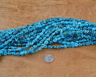 8mm Campitos long drilled Turquoise blue/green 16-inch strand genuine turquoise nuggets, Genuine turquoise beads turquoise strands