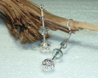 """Silver Earring jewelry """"faceted Crystal"""""""