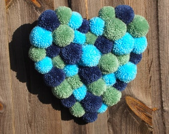 Pompom Heart, Blue and Green pompoms, Home decor, Wall Hanging pompoms, Door hanging pompoms, Wool , Rustic Heart