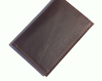 Shiny brown cowhide leather wallet