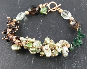 Sage pearls and Smokey Quartz bracelet