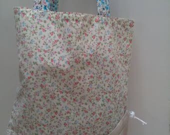 Tote shopping bag. Pack away fold away floral cotton fabric bag. Pink and blue lightweigh. Handmade handsewn