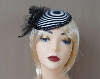 fascinator black & white