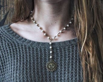 Bronze Sunshine Howlite Beaded Necklace