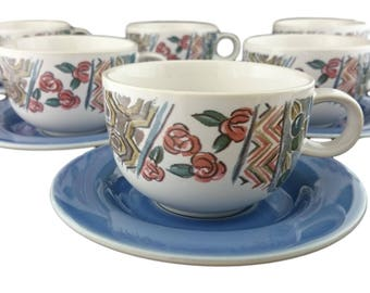 Paysanne Set of six cups & saucers from Hornsea