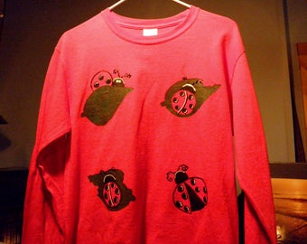 Red Long-Sleeve Top With Ladybugs