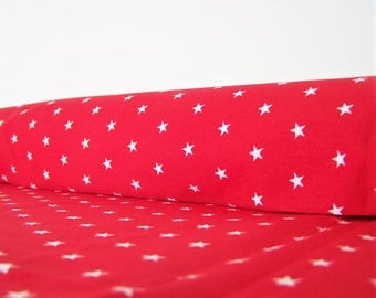 Coupon 50 X 50 cm red with white stars printed fabric