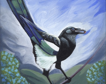 """Cheeky Magpie - Original painting, 8""""x10"""", acrylic on stretched canvas, by Megan Ann Sterritt."""