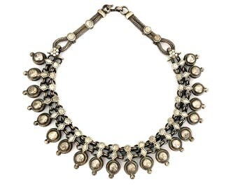 Vintage Tribal Traditional Indian Rajasthani Sterling Silver Collar Necklace