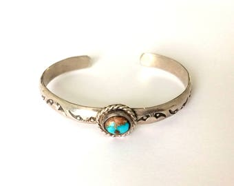 Vintage Sterling Silver American Native Royston Turquoise Cuff Bracelet (Small)