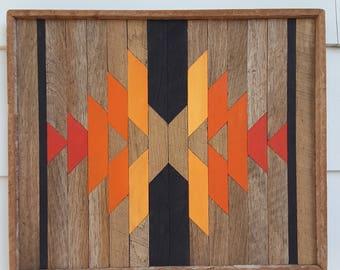 Reclaimed Wood Wall Art, Southwest Decor, Native American Art, Ski Lodge, Home Decor, Lath Art, Mosaic Art, Geometric Design