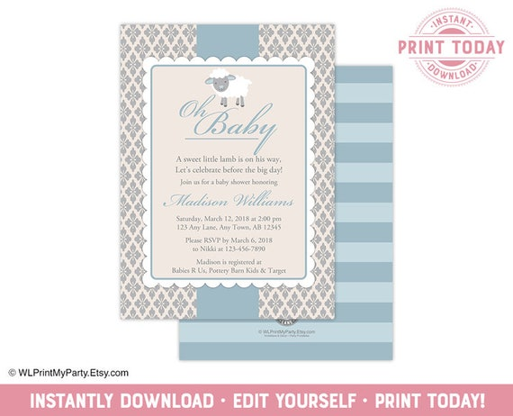 Little lamb baby shower invitation for a boy blue and beige sheep il570xn filmwisefo