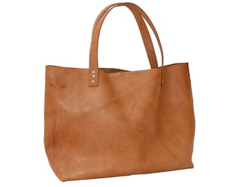 "Leather bag type Tote ""IXQUIC"" by Condessa Leather M.R. 100% genuine, handmade."