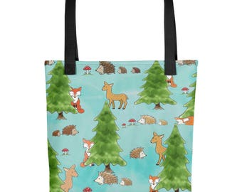 Forest Friends Tote bag - Fox Hedgehog Deer Print - Cute Animals Tote - Cute Hedgehog Tote Bag by Urchin Wear - Indy Art - Watercolor Animal