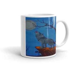 Wolf Howling At the Moon Mug