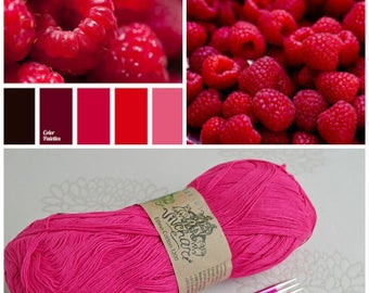 Raspberry yarn Eco yarn Cotton yarn Linen yarn Summer yarn Crochet yarn Ethno-cotton 1200 Cotton linen yarn Premium yarn Baby yarn Soft yarn