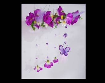 Beautiful purple flower Mobile with butterfly