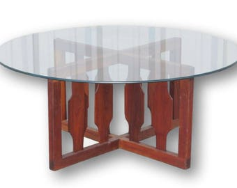 SALE! Adrian Pearsall Mid-Century Modern Glass and Walnut Wood Coffee Table