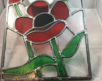 Poppy glass panel