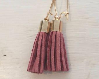 Mini Suede tassel earrings, Dusty Rose
