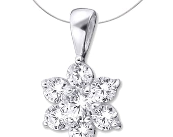 Silver Flower Pendant With Cubic Zirconias
