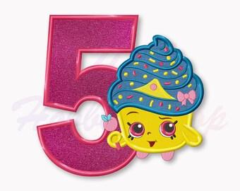 Shopkins Cupcake Queen Fifth birthday Applique Embroidery Design, Shopkins Machine Embroidery Designs, Digital Instant Download, #022
