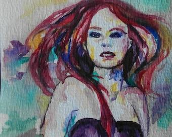 Postcard 't colorful Girl-10.5 x 14.8 cm/4.1 x 5.8 inch-handmade original watercolor-Watercolour drawing-Postcard