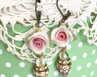 pretty dangle earrings with Swarovski crystals and porcelain roses on antique brass lever backs  #1039-15