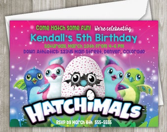 Hatchimals Birthday Invitation - Printed Invitation - 5 x 7