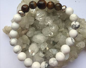 Men's Crystal Bracelet - Gain Courage - with Howlite & Tigers Eye