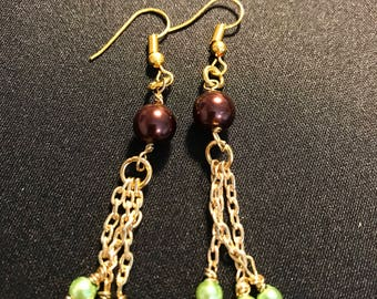 Chocolate pearl earrings // brown and blue dangle earrings // brown and green dangle earrings (Frannie)